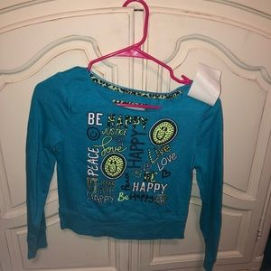 Size 10 justice Sweater top! Barley worn